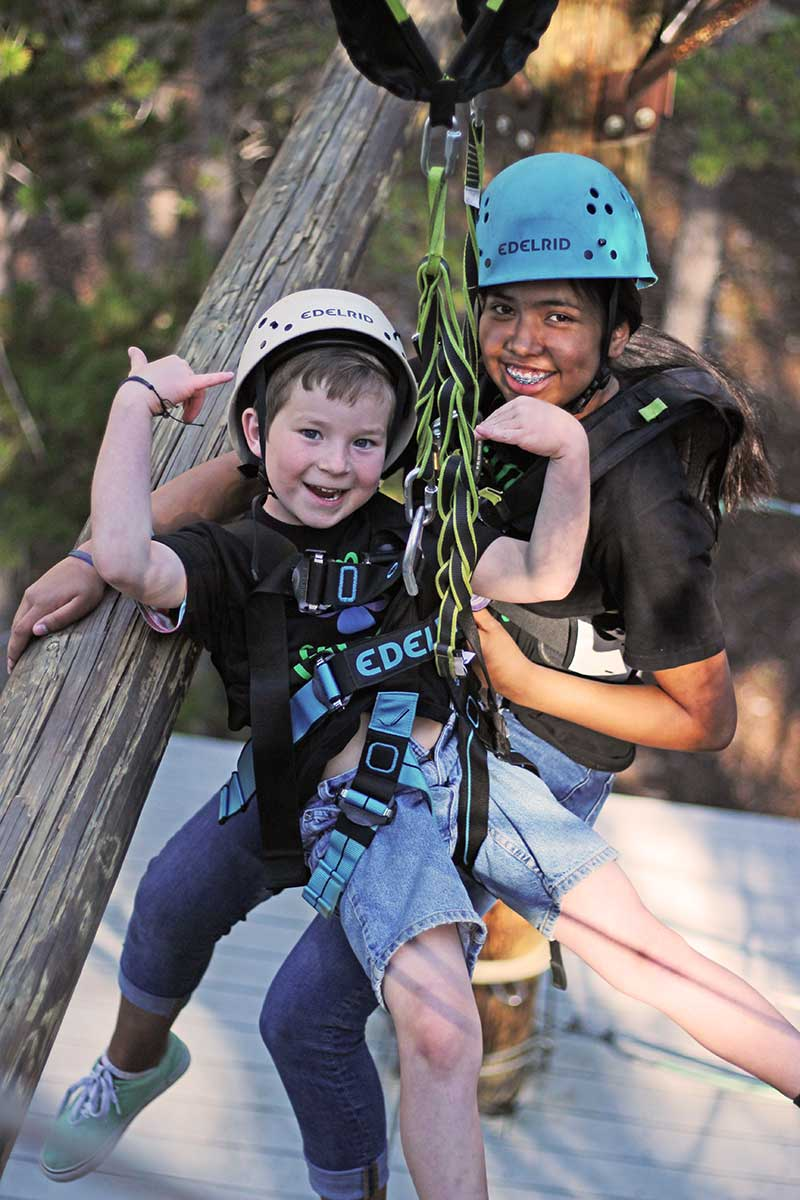Students on BOEC Ropes Course following Risk Management Guidelines