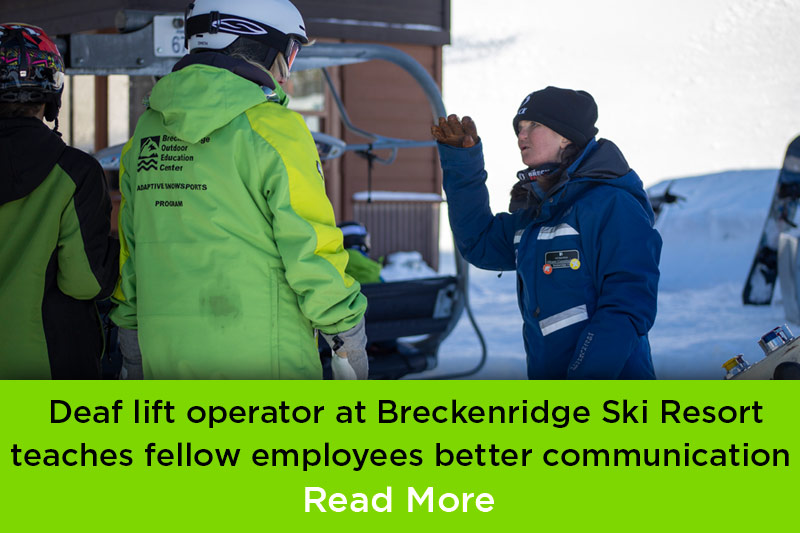 BOEC adaptive participant Allison Cunningham works as lift operator at Breckenridge Ski Resort