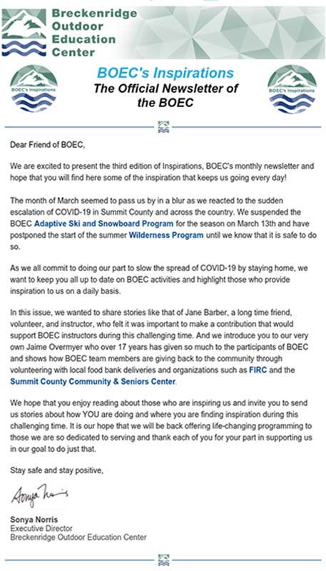 BOEC's April 2020 Newsletter