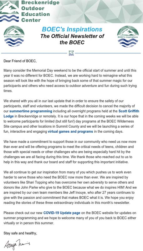 BOEC's June 2020 Newsletter