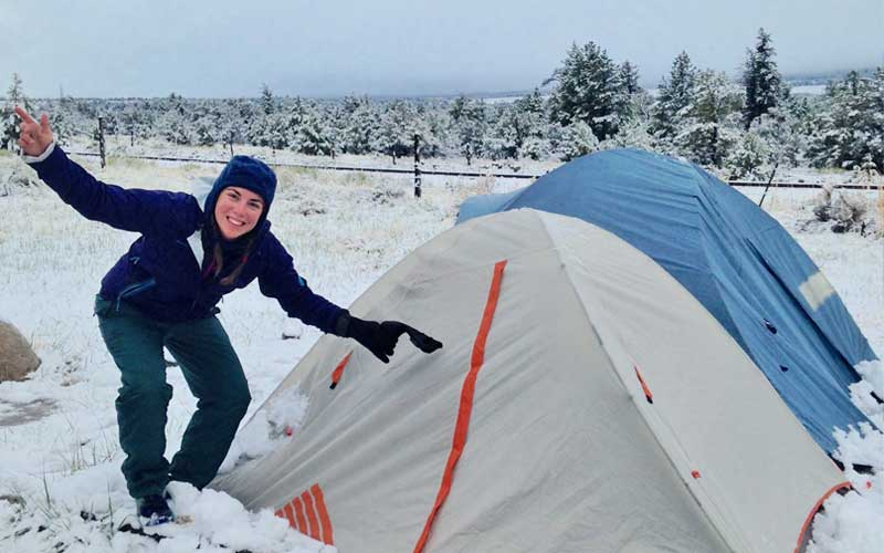 Kat Booth camping in the snow