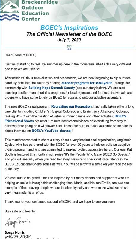 BOEC's July 2020 Inspirations Newsletter