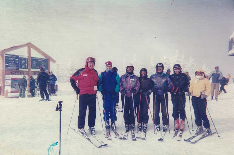 Clyde with a group of skiers