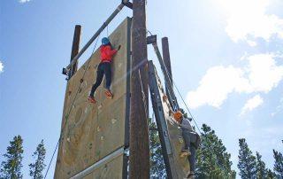 Participants on BOEC's climbing wall