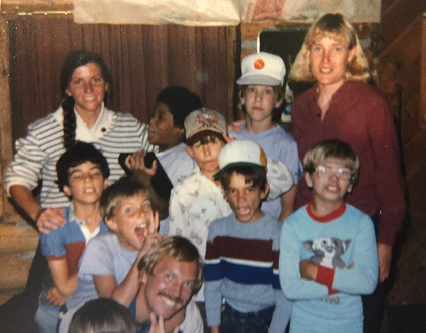 Ben's mother, Cathy Greer-Cole (top left) with a group of participants