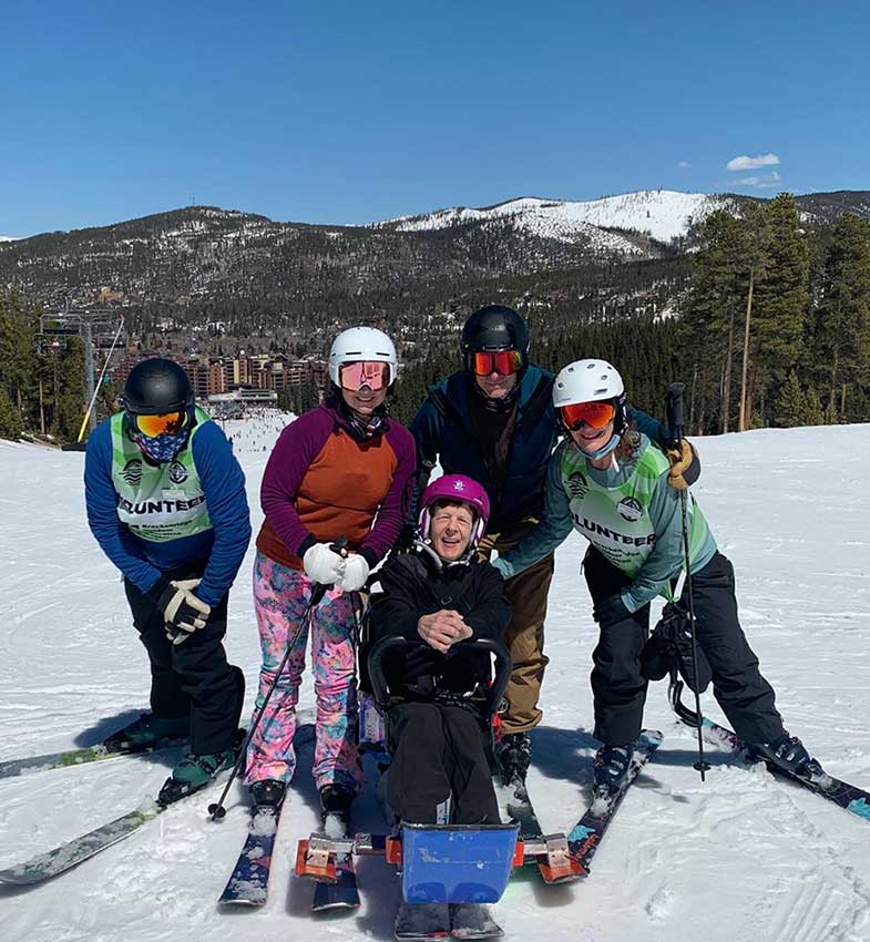 BOEC Volunteers on an adaptive ski lesson