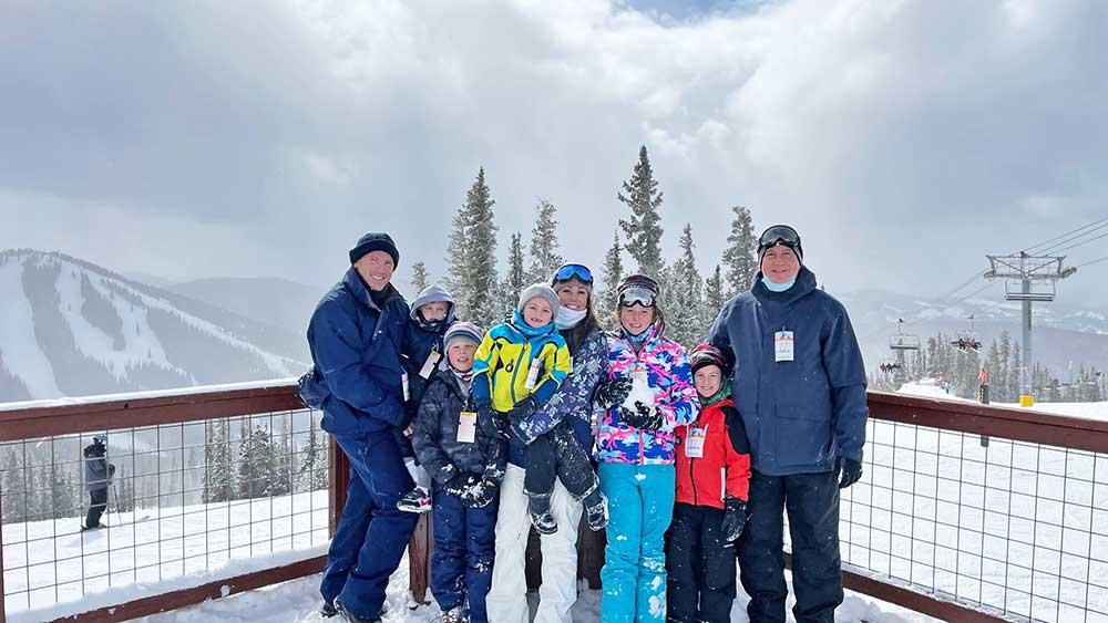 The entire family poses at Keystone Ski Resort