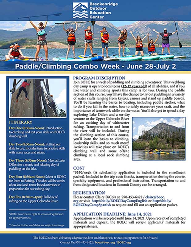 Paddle/Climbing Week Flyer