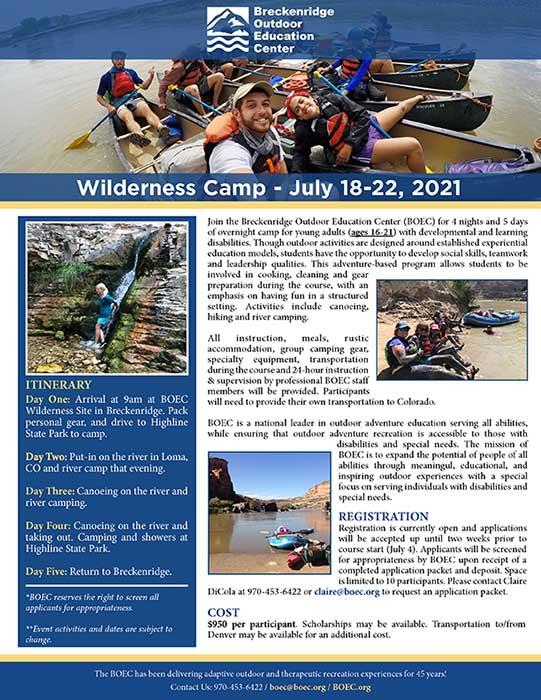 Wilderness Camp Flyer