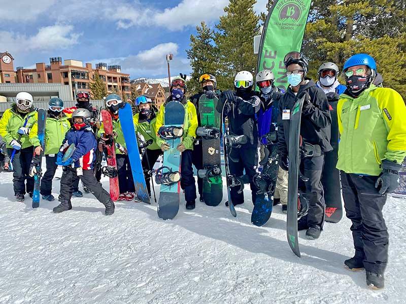 BOEC adaptive ski group poses