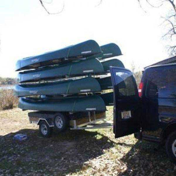 Canoes stacked on the custom built trailer