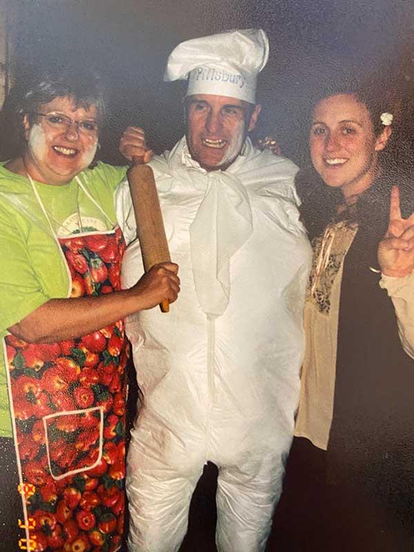 Bobby dressed up as the Pillsbury Dough Boy