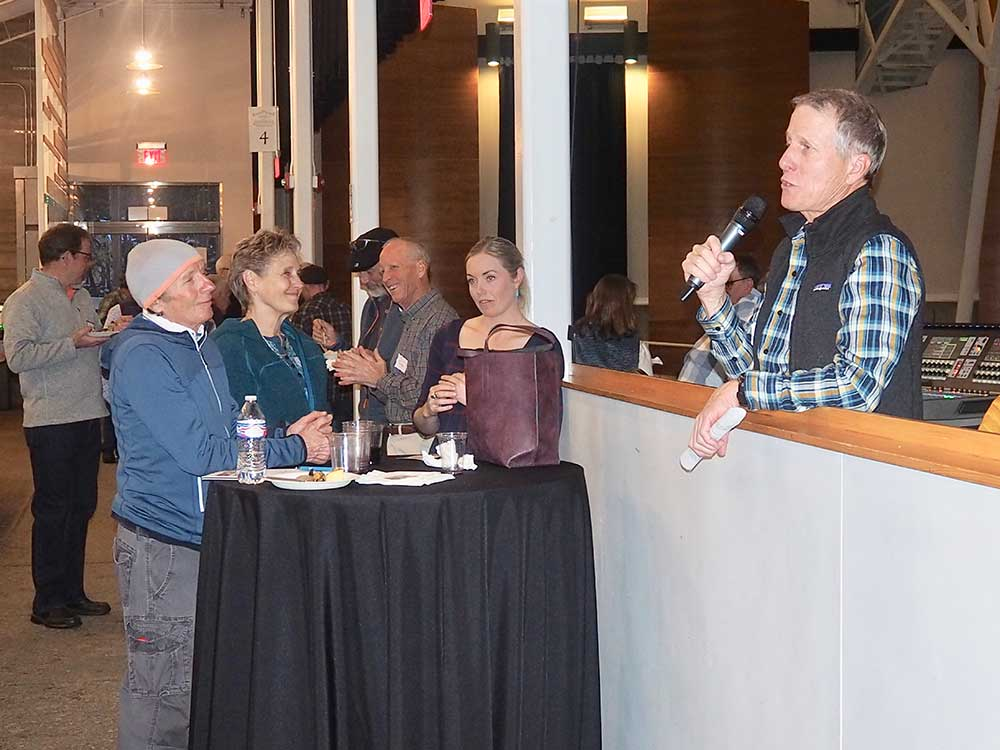 Tim addresses the crowd during the Banff Film Festival