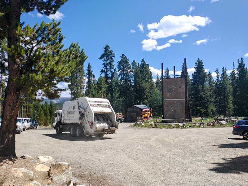 Timberline's truck picks up recycling at BOEC's Wilderness Site